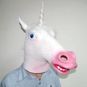 Hot Sell Cheap Halloween 3D Cartoon Latex Facial Cosplay Unicorn Animal Horse Head Masks pictures & photos