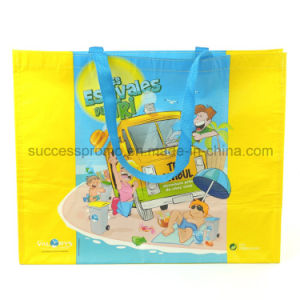 Custom Printed RPET Nwpp Laminated Tote Carrier Shopping Eco Bag pictures & photos