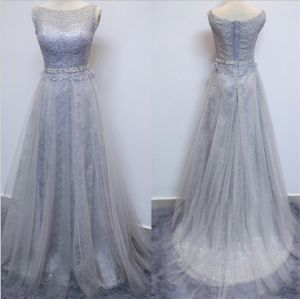 D1176 Evening Dresses with Lace Appliques Beaded Waist Tulle Dress pictures & photos