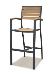Polywood Furniture Aluminum Frame Outdoor Synthenic Teak Arm Barstools (PWC-15607) pictures & photos