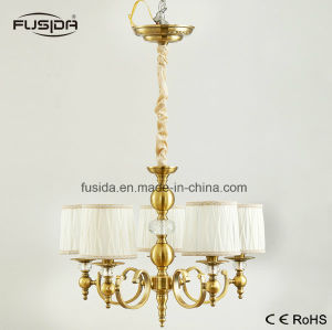 5 Lamps Bronze Fabric Round Lampshape Chandelier Lighting with Crystal pictures & photos