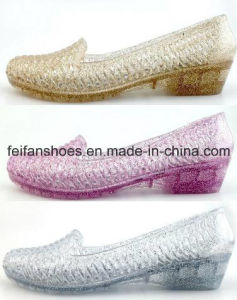 Lady Latest High Quality Crystal Jelly Sandals Shoes (FF614-8) pictures & photos