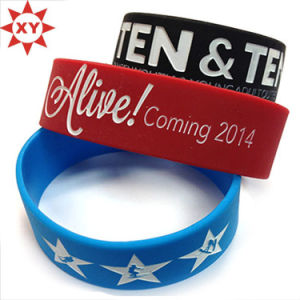 Black, Blue and Red Silicon Wristband Size for Adults pictures & photos