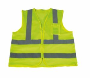 Hi-Viz Reflective Safety Vest with Cross Tape on Back pictures & photos