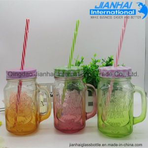 Hot Design Glass Drinking Mason Jar with Handle pictures & photos