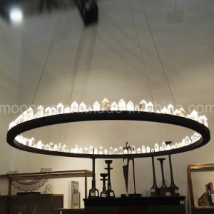 Modern Large Luxury Black Round Ring Natural Rocks Crystal Chandelier pictures & photos