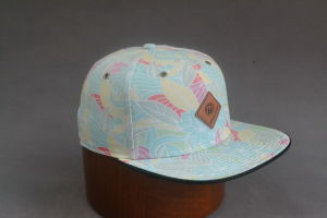 Polyester/Cotton Snapback Cap with PU Embossed Leather pictures & photos