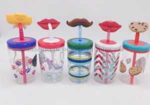 OEM Creative Juice Water Bottle Straw Cup with Cartoon Design pictures & photos