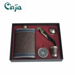 9oz Leather Cover Stainless Steel Hip Flask Set with Compass pictures & photos