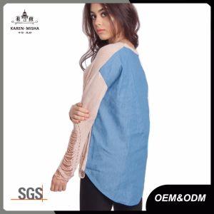 Ladies Distressed Denim Fashion Garment pictures & photos