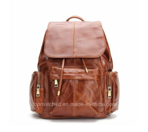 Vintage Brown Real Leather School Backpack Bag Pattern pictures & photos
