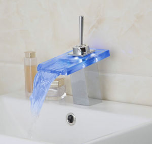 LED Glass Spout Waterfall Vessel Sink Cold and Hot Water Tap Mixer pictures & photos