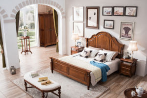 New Design Solid Wood Furniture American Country Style Bedroom Set (AD813) pictures & photos