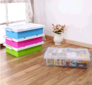 High Quality Plastic Products 35L Transparent Underbed Storage Box Plastic Box Packaging Box with Wheels pictures & photos