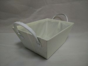 Paperloom Single Tapered Basket with Faux Leather Handle Cream