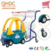 Steel and Plastic Supermarket Kids Shopping Toy Car Schoonmaak Shopping Trolley Children Fun Cart with Stable