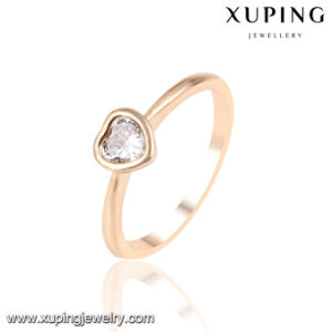 13953 Fashion Latest Cubic Zirconia Heart Shape Jewelry Finger Ring in 18k Gold -Plated pictures & photos
