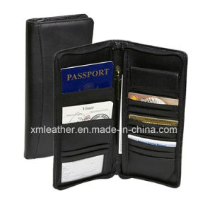Genuine Leather Card Wallet Travel Organizer Holder with Zipper pictures & photos