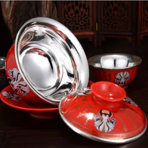 Silver Porcelain Tea with 999 Pure Silver Internal Bile Tea Sets pictures & photos