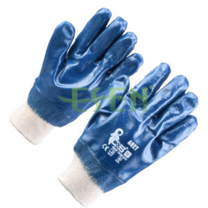 Cotton Jersey Shell Nitrile Coated Safety Work Gloves (D15-Y1) pictures & photos