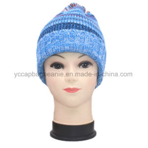 Women′s Winter Ab Yarn Pompom Knitted Hat Beanie pictures & photos