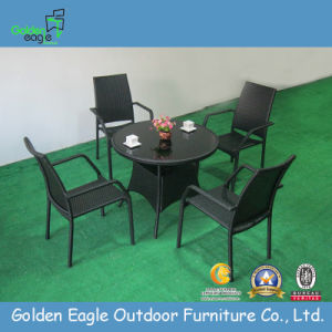 All Weather Rattan Dining Set Table Chairs, Stackable Chairs