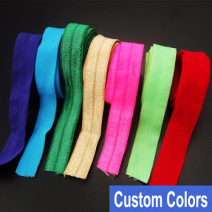 "5/8"" Colorful Fold Over Elastic Shiny Foldover Elastic Foe Underwear Making Lingerie Bra Making pictures & photos"