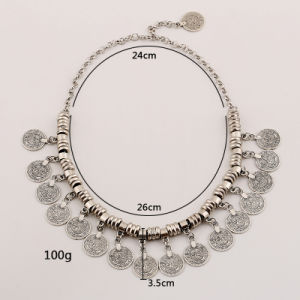 Fashion Exaggerated Alloy Coin Tassel Choker Necklace Jewelry pictures & photos
