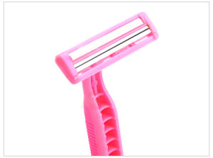 Rubber Handle Twin Blade Women Disposable Razor pictures & photos
