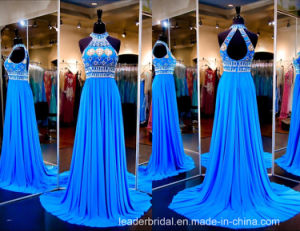 Halter Prom Party Gowns Blue Beading Crystals Evening Dress Ld15294 pictures & photos