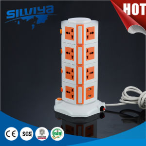 Layer 1 to 5 Electrical Tower Socket with USB pictures & photos