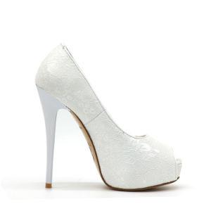 Ladies Simple Design Silk Wedding Shoes pictures & photos