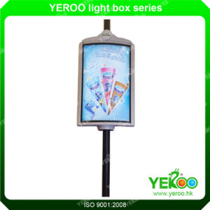 Advertising Outdoor Glass Fabric Material Lamp Post Display pictures & photos