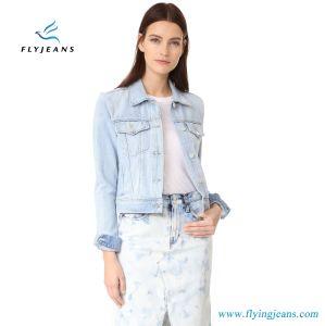 Shrunken Jeans Jackets Women Super-Soft Denim Short Coat with Fold-Over Collar pictures & photos