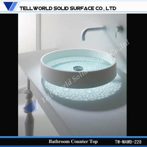 Art Bathroom Acrylic Solid Surface Vanity Glass Wash Basin Furniture pictures & photos