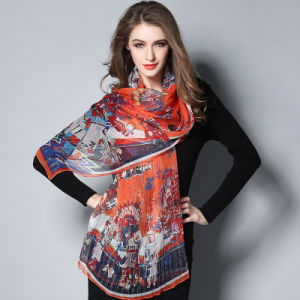 Orange Digital Printing Silk Scarf for Women pictures & photos