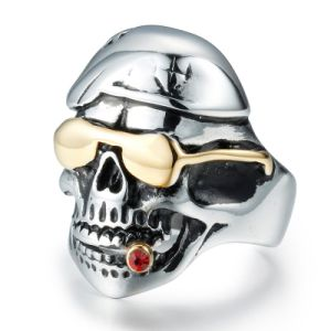 Fashion Vintage Smoke Skull Anti Rust Engraved Titanium Stainless Steel Man Rings Jewelry pictures & photos