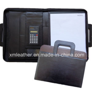 Zippered A4 Leather Business Portfolio Folder Case with Handle pictures & photos