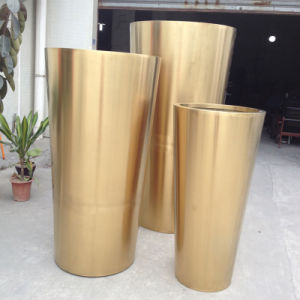 Large Garden Gold Metal Stainless Steel Flower Plant Pot Planters