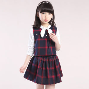 Custom High Quality Plaid School Uniform Pinafore pictures & photos
