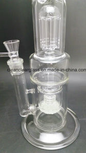 "Wholesale! Glass Water Pipe Smoking Pipe 16"" with Frit Disk, Tyre Perc and Arm Perc pictures & photos"