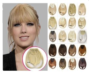Natural Front Bangs Clip in Hair Extensions Line Full Bang Fringe Heat Resistant Hairpiece