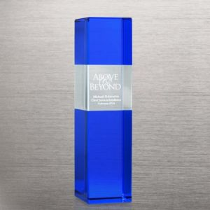 Personalized Block Tower Blue Crystal Trophy (75356) pictures & photos