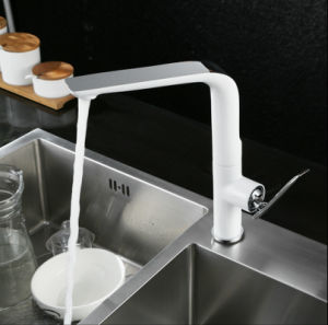 Single Lever Swivel Sink Water Mixer with White Printed pictures & photos