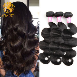 Grade 7A Indian Virgin Hair Body Wave Natural Black Color 1b, Unprocessed 3PCS Lot Raw Virgin Indian Body Wave Hair pictures & photos