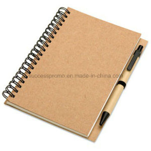 Customized Recycled Kraft Paper Spiral Notebook with Pen pictures & photos