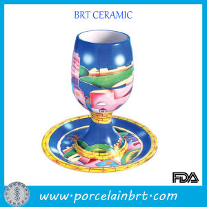 Fancy Ceramic Goblet Wine Cup with Saucer pictures & photos