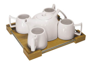 6PCS Tea Cup Set with Bamboo Square Tray pictures & photos