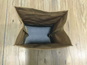 High Quality Waxed Canvas Lunch Bag with Leather Trim pictures & photos
