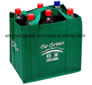Green Eco-Friendly 6 Bottle Reusable Wine Carrier Bag with Dividers pictures & photos